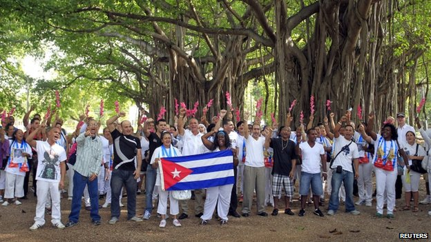 Some of the freed political prisoners from Cuba